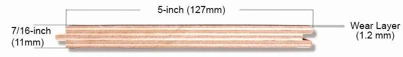 5 inch 1.2mm wear layer hardwood engineered flooring structure