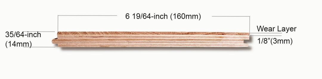 6 inch 3mm wear layer hardwood engineered flooring construction