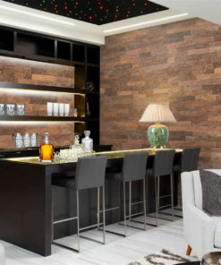 Brown brick cork wall panels bar interior design wall insulation sound absorbing soundproofing noise reduction