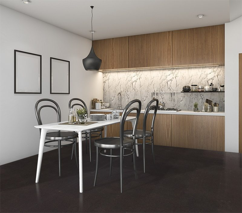 Jet black forna black cork flooring kitchen loft furniture