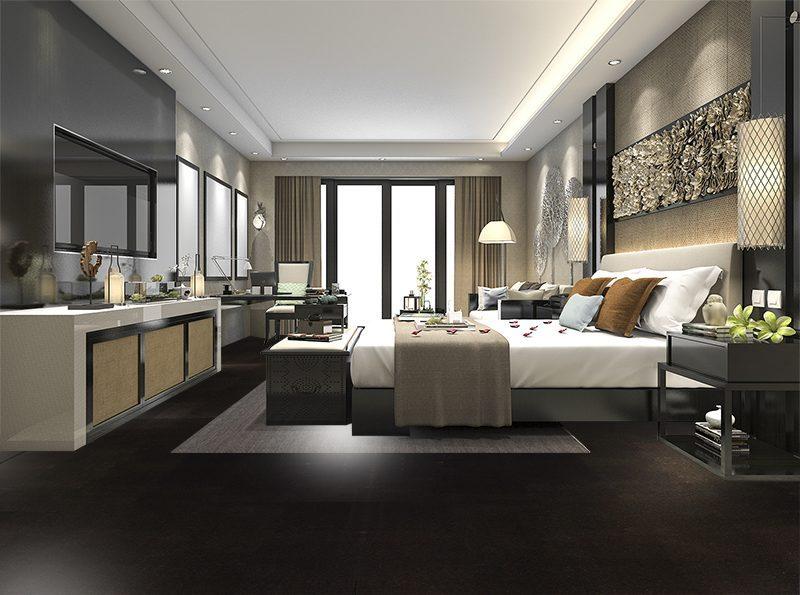 Jet black forna cork flooring bedroom Interior design architecture photos