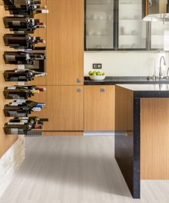 ash wood forna fusion cork flooring in a modern wooden kitchen with wine racks and fitted cabinets