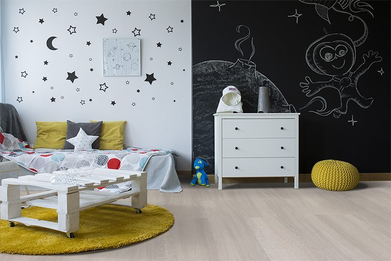 ash wood fusion cork floor creative spacethemed kids room black board wall