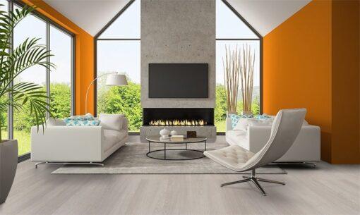 ash wood fusion cork floor modern living room orange wall fireplace