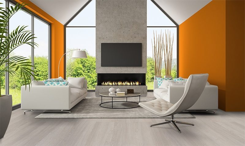 ash wood fusion cork floor modern living room orange wall fireplace