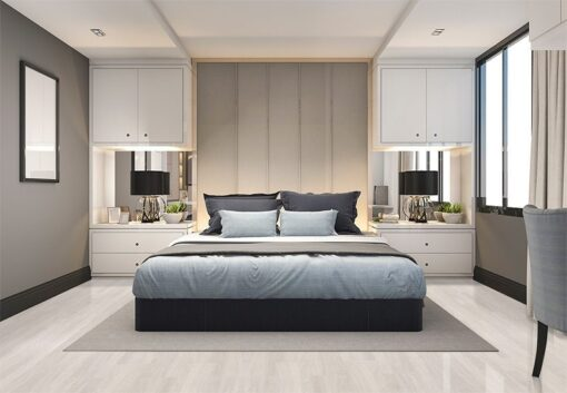 ash wood fusion cork modern luxury bedroom with grey wall