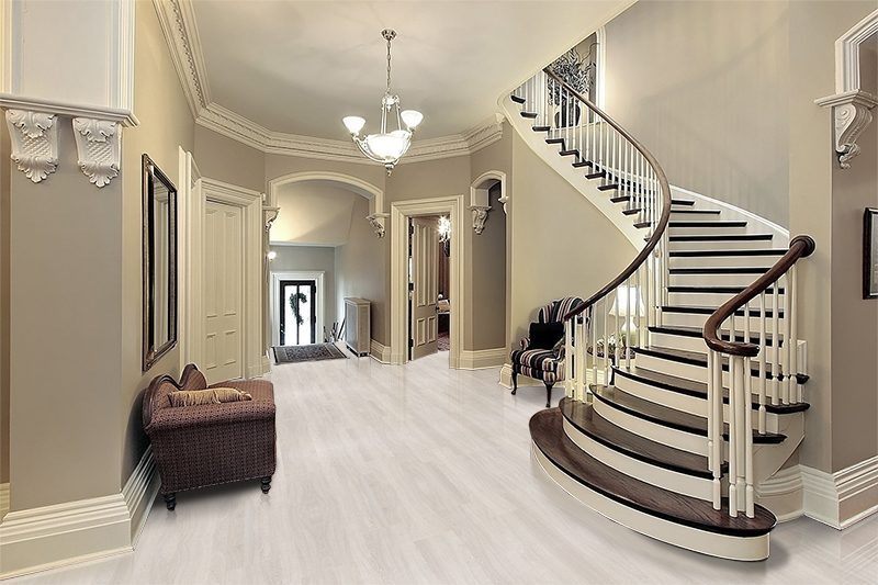 ash wood fusion modern cork floor in traditional foyer area