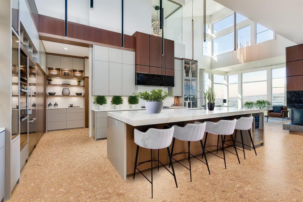 autumn leaves cork floor luxury kitchen modern living room