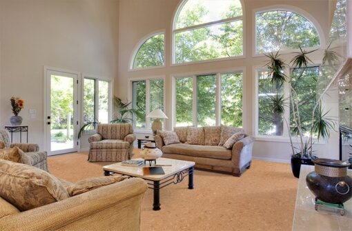 autumn leaves cork floors luxury home great room vaulted ceilings