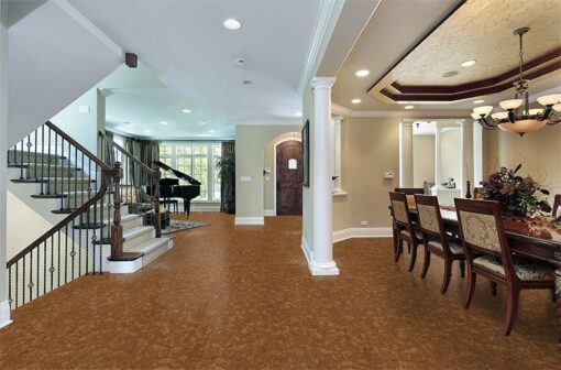 autumn ripple beveled-cork floor foyer luxury home dining room view