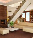 autumn ripple cork floor modern interior brown walls