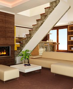 autumn ripple cork floor modern interior brown walls