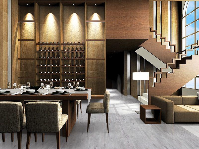 barn wood cork floor durable scratch resistant modern living room design gray color