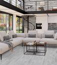 barn wood cork floor modern bright living room interiors