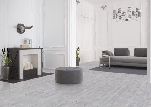 barn wood cork floor scratch resistant grey modern living room design