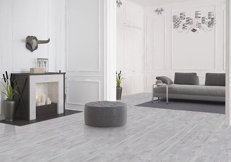 barn wood cork floor scratch resistant grey modern living room design