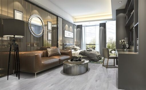 barn wood fusion cork floor luxury design living room and bedroom in modern apartment