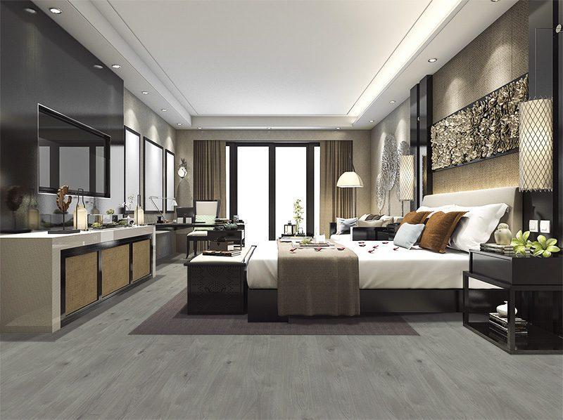barn wood fusion cork floor resistant luxury modern bedroom suite in hotel