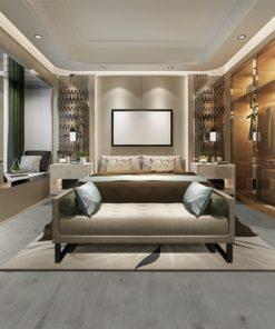 barn wood fusion cork floor scratch resistant luxury modern bedroom suite tv with wardrobe and walk in closet