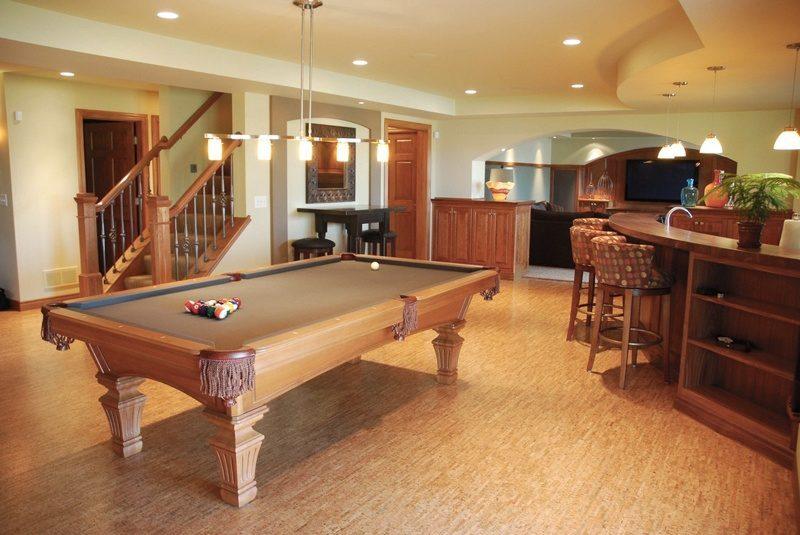 basement design with cork flooring