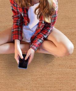 berber cork floor bared feet teenage girl sitting on floor warm comfortable