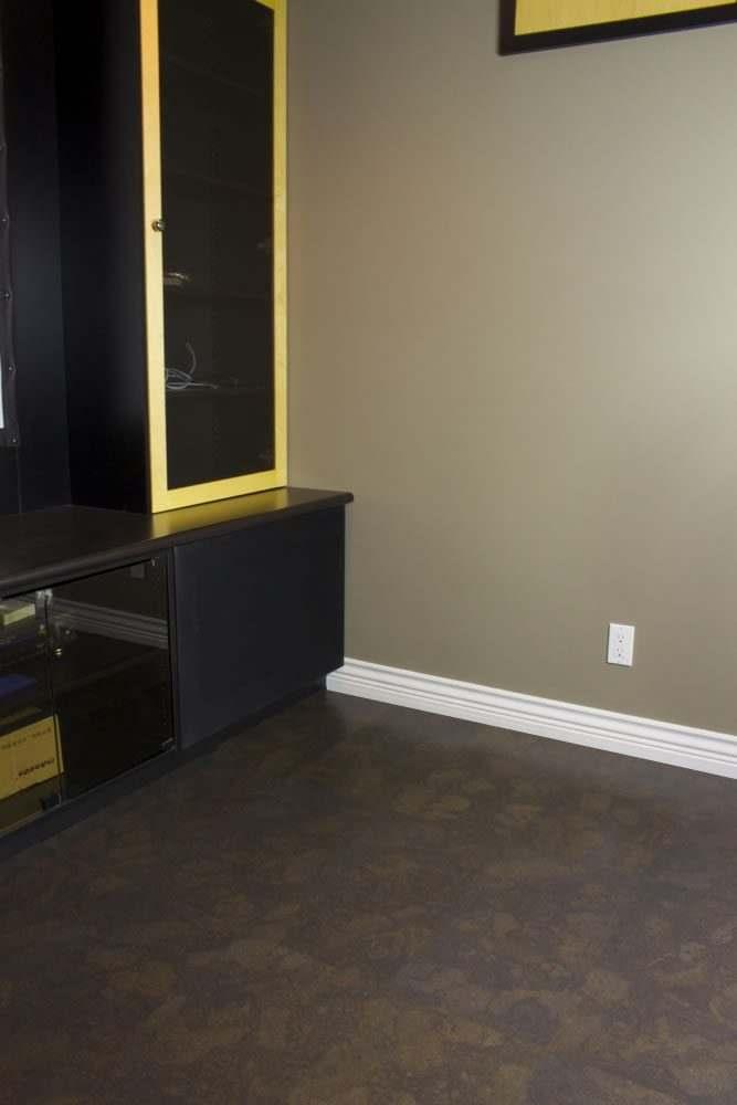 black cork flooring home theater