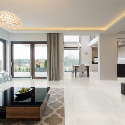 bleached birch cork floor living room seaside beach house