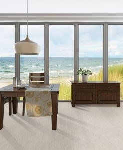bleached birch cork floor living room seaside beach house