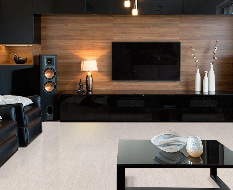 bleached birch cork floor modern home theatre interior
