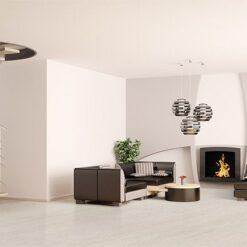 bleached birch cork floor modern living room interior design spiral stair