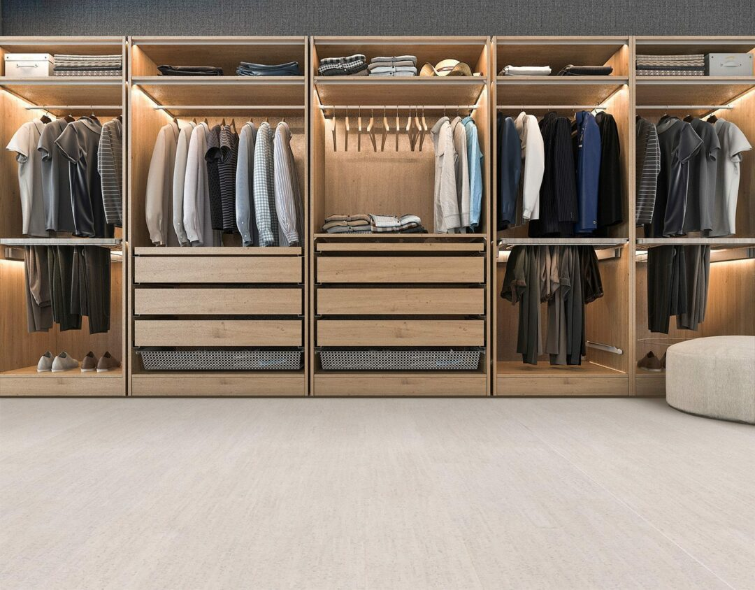 bleached birch cork floor modern walk in closet with wardrobe