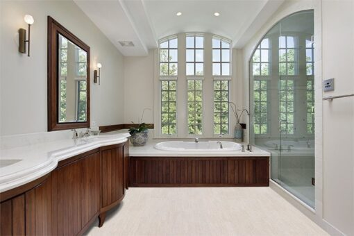 bleached birch cork floors master bath modern home wood cabinetry