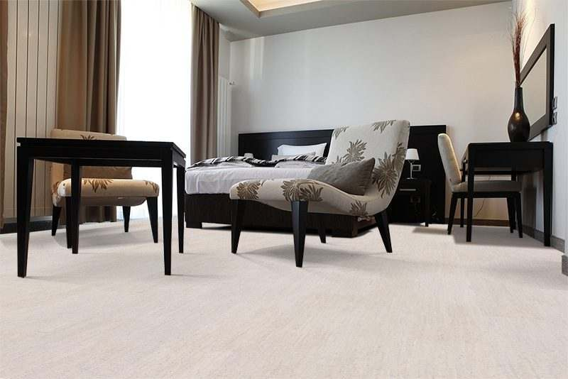 bleached birch cork floors modern hotel bedroom
