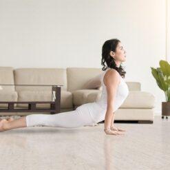 bleached birch cork floors yoga modern living room home