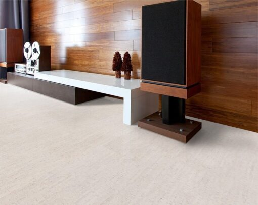 bleached birch forna cork flooring modern home theater soundproof absorb echoes noise reducing