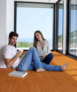 brown birch forna cork flooring floatingromantic happy young couple relax modern new home