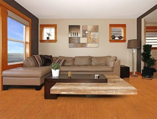 brown birch forna cork flooring modern living room interior