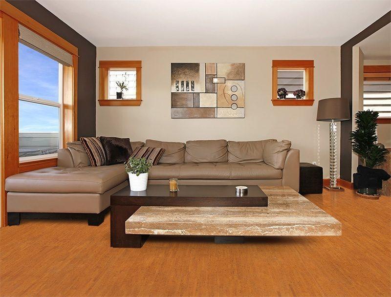 brown birch forna cork flooring modern living room interior