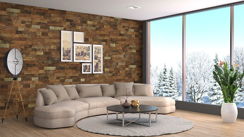 brown brick cork wall panels soundproofing sound absorbing block noise living room