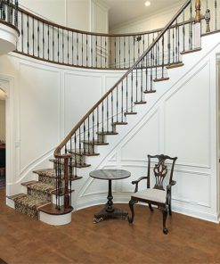 brown leather cork floor foyers luxury home stairs