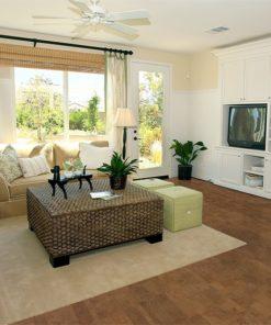 brown leather cork floor modern living room earth tones