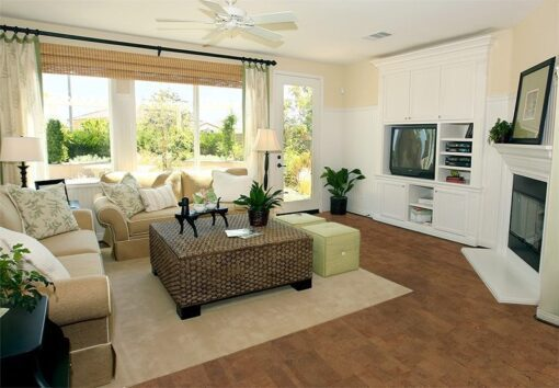 brown leather cork floor modern living room earth tones