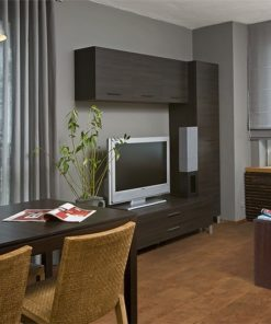 brown leather cork floor spacious living room gery wall