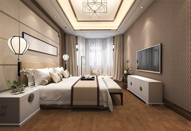 brown leather cork floor spacious modern luxury classic bedroom