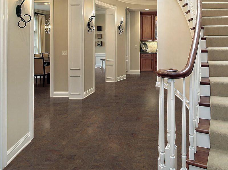 brown salami cork flooring entryway foyer