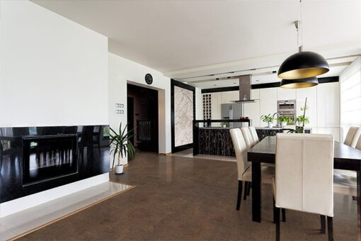 brown salami modern house contemporary interior modern black open kitchen and spacious dinning black fireplace