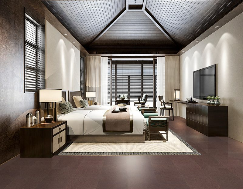 burnt sienna leather cork unicic floating flooring luxury living room design