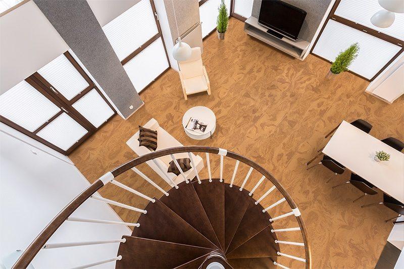 caramel swirl cork floor living room interior view above