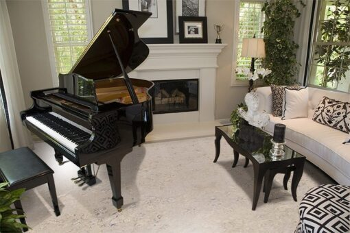 ceramic marble cork flooring classic warm living room with piano and armchair
