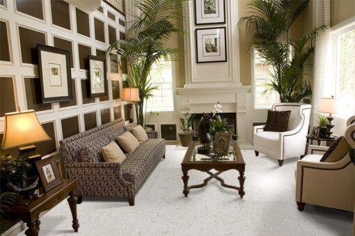 ceramic marble cork flooring luxury basement bedroom with contemporary decor